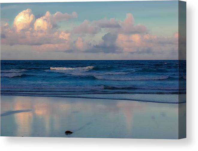 Ocean Canvas Print featuring the digital art Sunset Tides by DigiArt Diaries by Vicky B Fuller