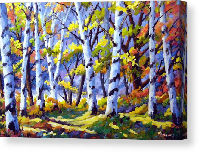 Art Canvas Print featuring the painting Sunshine And Birches by Richard T Pranke