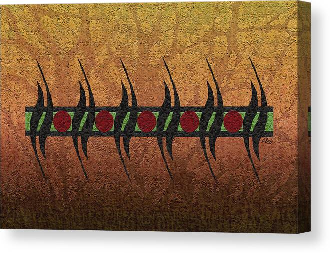 Contemporary African Abstract Gold Red Green Black Gordon Beck Art Canvas Print featuring the painting Sunspots by Gordon Beck