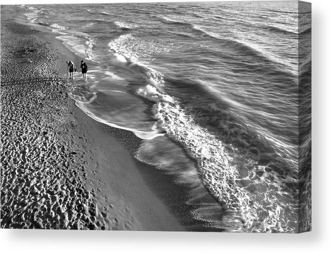 Black And White Canvas Print featuring the photograph Swirls Of Black And White by Alison Belsan