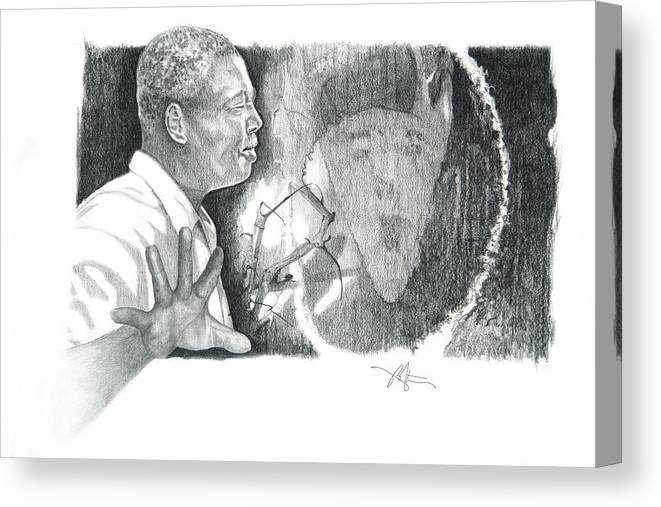 Pencil Drawing Canvas Print featuring the drawing Taking A Stand by Bob Salo