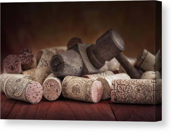 Aged Canvas Print featuring the photograph Tapped Out - Wine Tap With Corks by Tom Mc Nemar