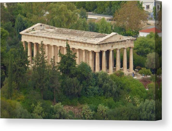Grecian Temple Canvas Print featuring the photograph Temple To Zeus by Barbara Ebeling