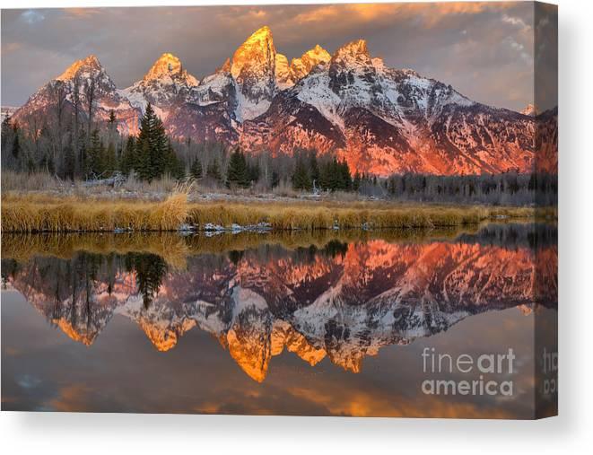 Grant Teton National Park Canvas Print featuring the photograph Teton Mountains Sunrise Rainbow by Adam Jewell