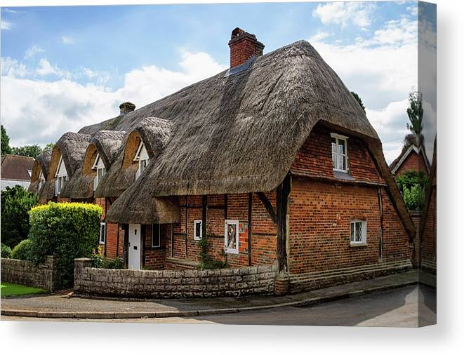Cottage Canvas Print featuring the photograph Thatched Cottages In Chawton by Shirley Mitchell