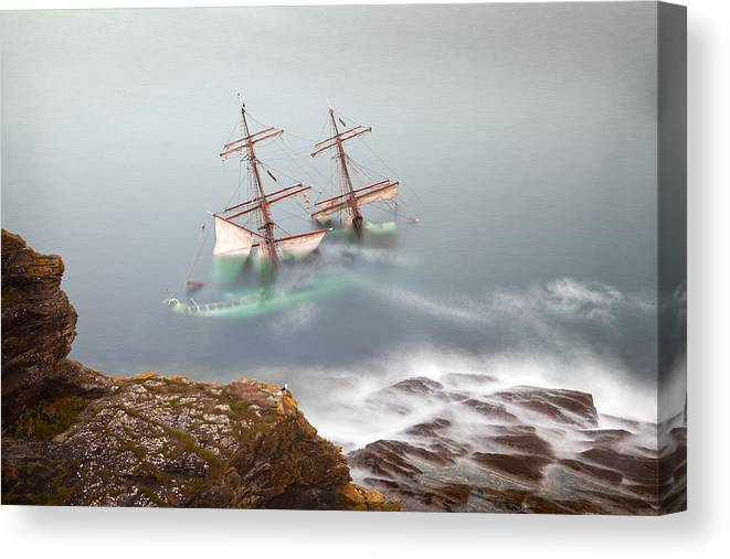 Wreck Canvas Print featuring the photograph The Astrid Goes Aground by Alan Mahon
