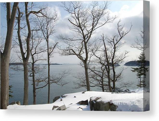 Water Canvas Print featuring the photograph The Bay In Winter by Faith Harron Boudreau