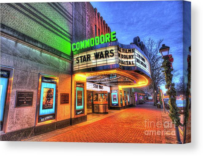 Theatre Canvas Print featuring the photograph The Commodore Theatre, Portsmouth, Va by Greg Hager
