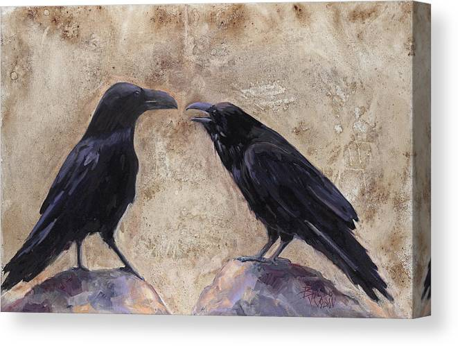 Blackbirds Canvas Print featuring the painting The Conversation by Billie Colson