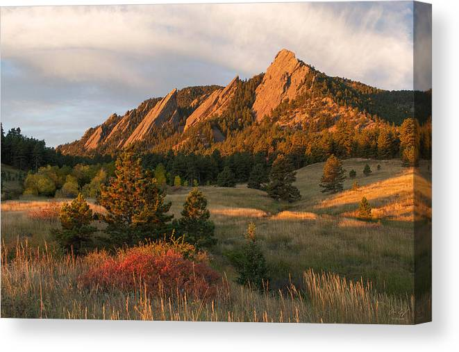 Boulder Canvas Print featuring the photograph The Flatirons - Autumn by Aaron Spong