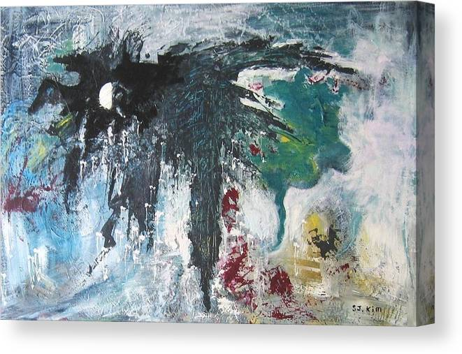 Abstract Paintings Canvas Print featuring the painting The Half Moon by Seon-Jeong Kim