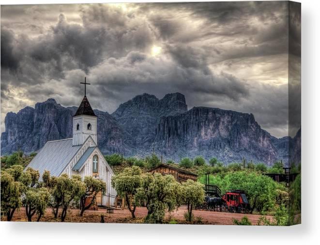Arizona Canvas Print featuring the photograph The Little Church by Saija Lehtonen