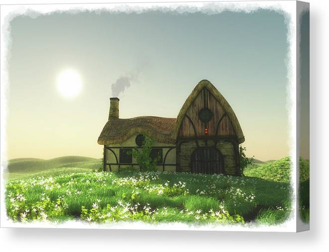 Landscape Canvas Print featuring the digital art The Old Homestead... by Tim Fillingim