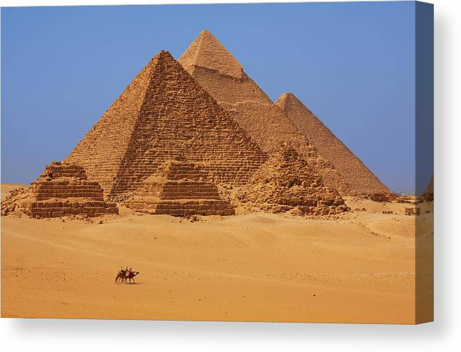 Egypt Canvas Print featuring the photograph The Pyramids In Egypt by Dan Breckwoldt