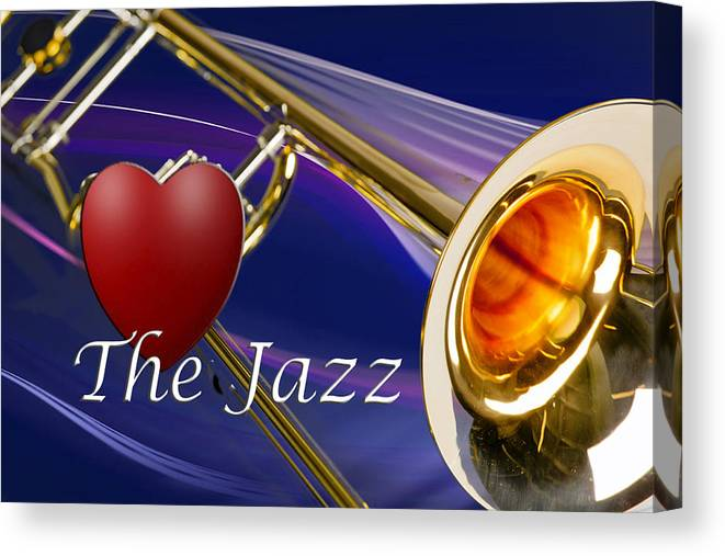Trombone Canvas Print featuring the photograph The Trombone Jazz 001 by M K Miller