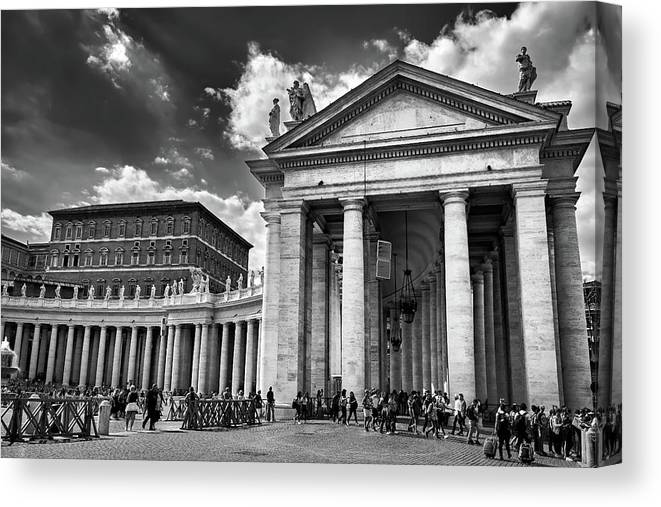 Architecture Canvas Print featuring the photograph The Tuscan Colonnades In The Vatican by Fine Art Photography Prints By Eduardo Accorinti