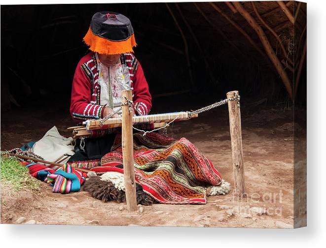 Awana Kancha Llama Farm Canvas Print featuring the photograph The Weaver by Bob Phillips
