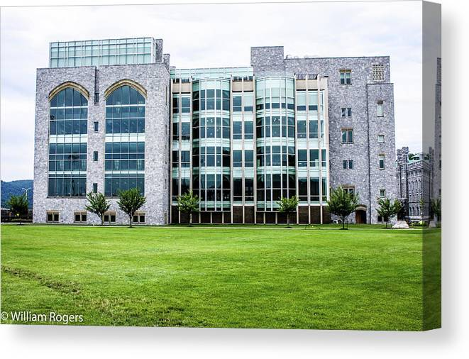 This Is A Photo Of The Fairly New Thomas Jefferson Library At The West Point Military Academy Located At West Point New York. Canvas Print featuring the photograph Thomas Jefferson Library At West Point by William Rogers