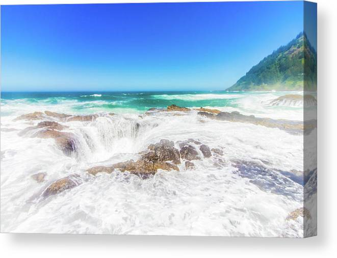 Oregon Canvas Print featuring the photograph Thor's Well Foam by Jonny D