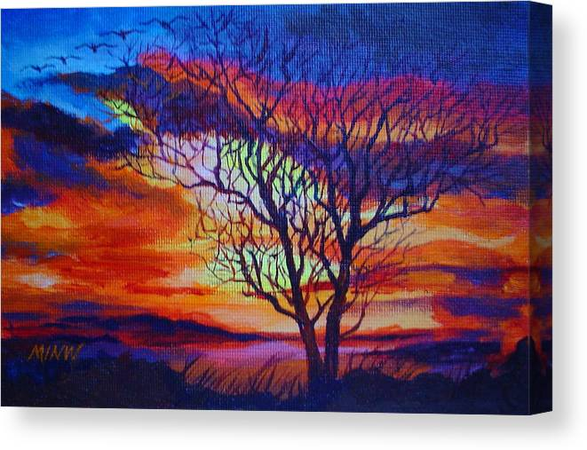 Evening Canvas Print featuring the painting Time To Roost by Min Wang