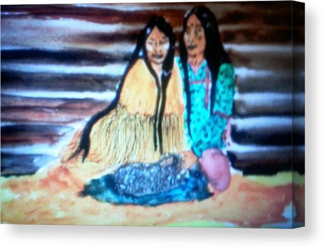 Cherokee Canvas Print featuring the painting Together by Terri Smith Asbury