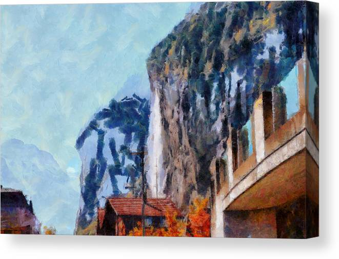 Switzerland Canvas Print featuring the photograph Towering Cliffs And Houses by Ashish Agarwal