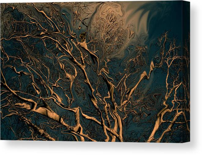 Trees Nature Abstract Digital Painting Canvas Print featuring the photograph Trippy Tree by Linda Sannuti