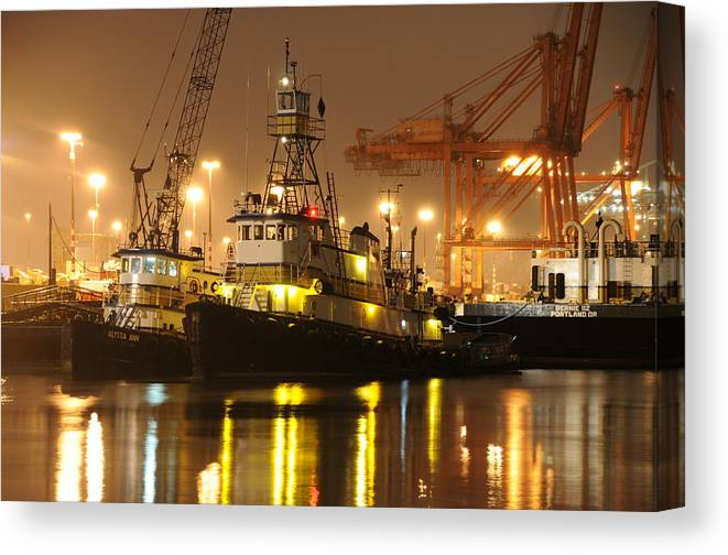 Tugboat Fog Maritime Shipping Boat Ship Marine Night Water Ocean Canvas Print featuring the photograph Tugboat In The Fog by Alasdair Turner
