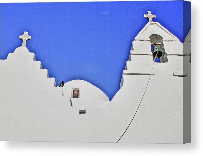 Mykonos Canvas Print featuring the photograph Twin Crosses by Linda Pulvermacher
