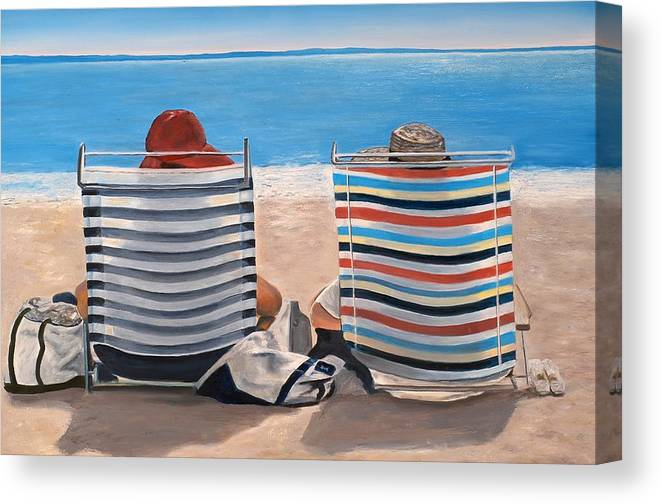 Beach Chairs Canvas Print featuring the painting Two Chairs by Mimi Schlichter