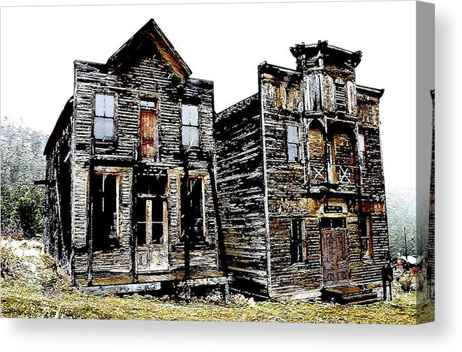 Ghost Town Canvas Print featuring the photograph Two Ghosts by Nelson Strong