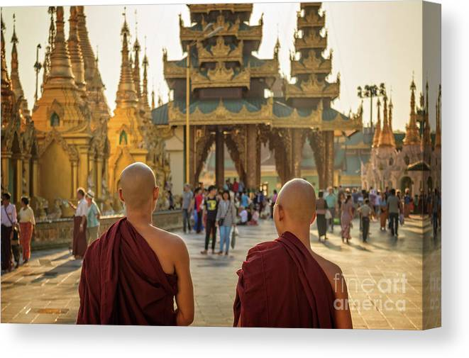 Burma Canvas Print featuring the photograph Two Monks by Louise Poggianti