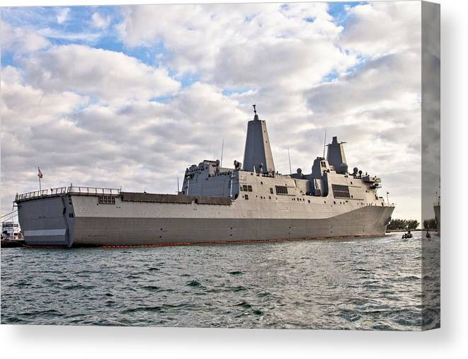 Navy Canvas Print featuring the photograph Uss Portland Lpd-27 In Key West by Bob Slitzan