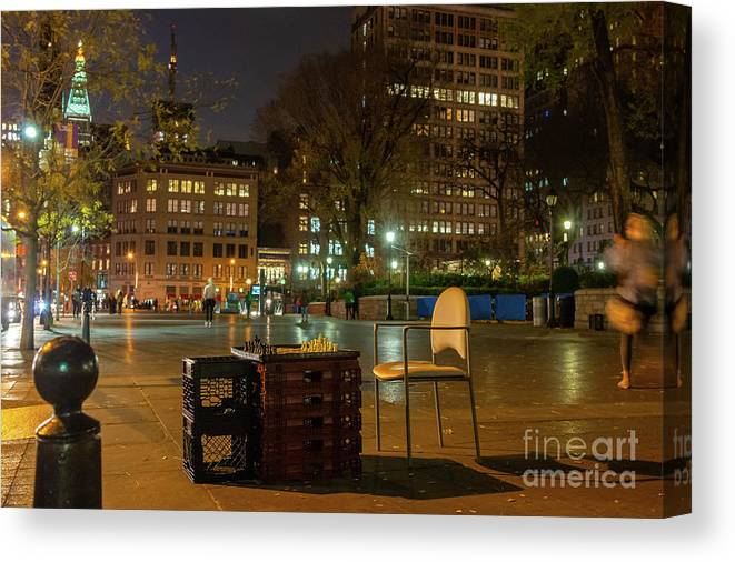 Manhattan Canvas Print featuring the photograph View Of Chess Board In The Middle Of Busy Sidewalk At Night by PorqueNo Studios