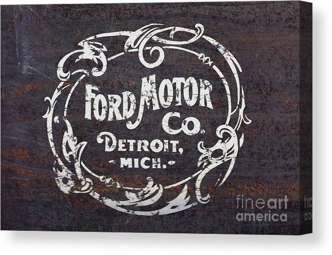 Vintage Ford Motor Co  Rusty Sign Canvas Print