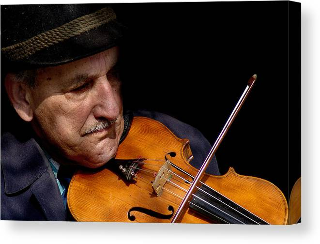 Street Musician Canvas Print featuring the photograph Violin Player by Todd Fox
