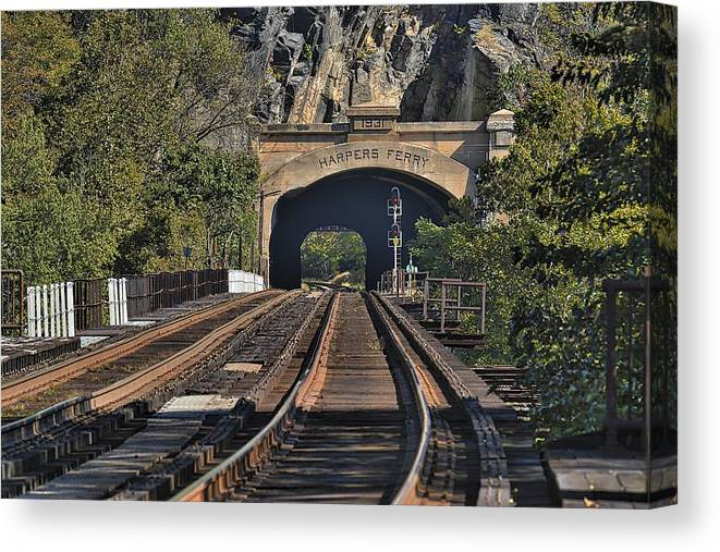 Tunnel Canvas Print featuring the photograph Waiting On A Train by Terri McLellan