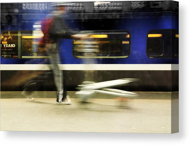 Station Canvas Print featuring the photograph Walking Along The Quay by Martine Affre Eisenlohr
