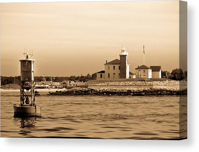 Lighthouse B&w Boat Sea Building Mooring Marina City Water Navigation Canvas Print featuring the photograph Watch Hill Light 2 by Arthur Sa