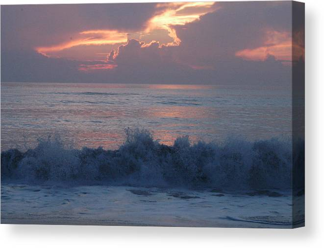 Sunrise Canvas Print featuring the photograph Wave Action At Sunrise by Michael Vanatta