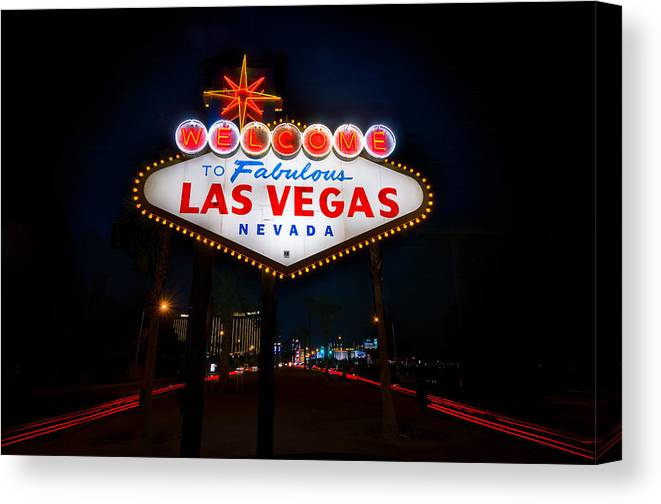 Casino Canvas Print featuring the photograph Welcome To Las Vegas by Steve Gadomski