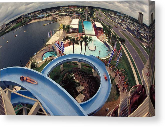 Waterslide Canvas Print featuring the photograph Wet And Wild by Carl Purcell