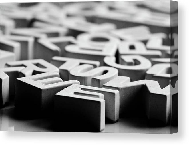 Horizontal Canvas Print featuring the photograph White Ceramic Letters by Michelle Shinners