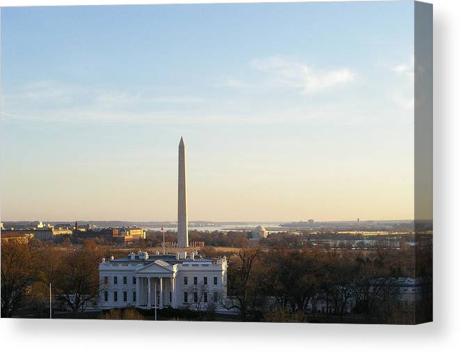 White House Canvas Print featuring the photograph White House And Washington Monument by Veron Miller