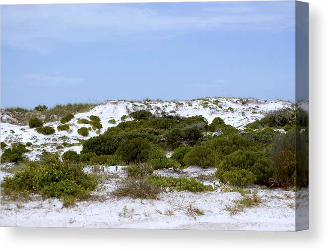 Sand Canvas Print featuring the photograph White Sand Dunes And Blue Skies by Tina B Hamilton