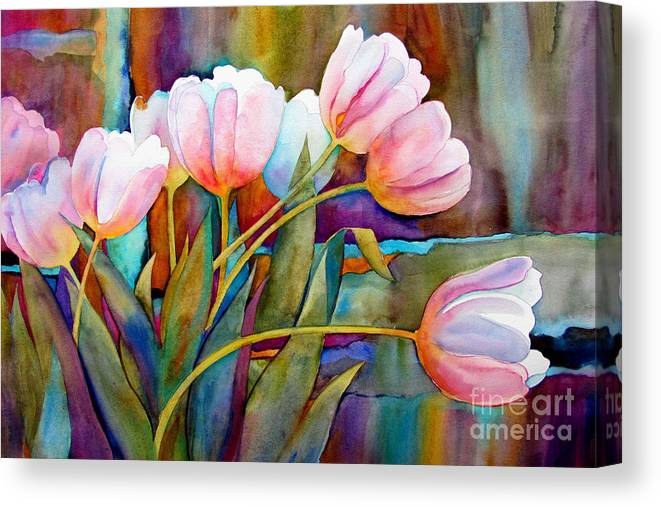 Tulips Canvas Print featuring the painting White Tulips by Wendy Westlake