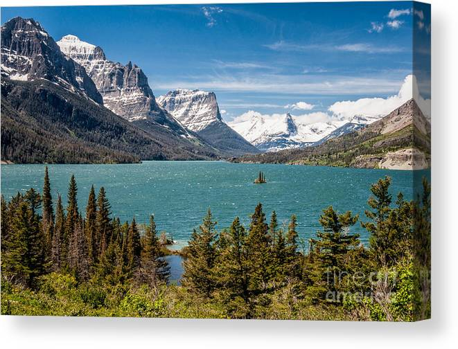 Al Andersen Canvas Print featuring the photograph Wild Goose Island And The Peaks Of St Mary's by Al Andersen