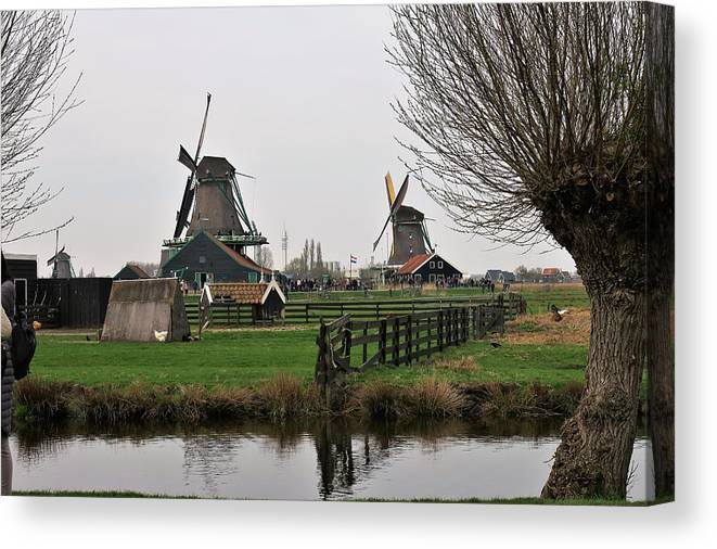 Landscape Canvas Print featuring the photograph Windmills by Sandra Bourret