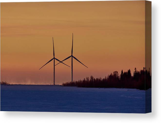 Ajos Canvas Print featuring the photograph Windmills Sync by Jouko Lehto