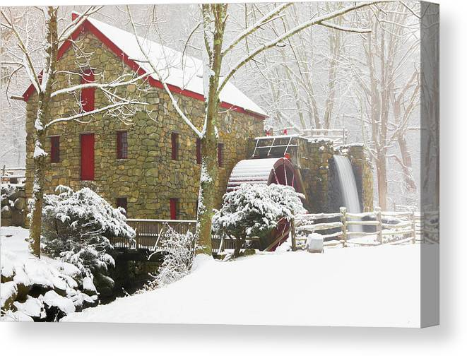 Winter Canvas Print featuring the photograph Winter At The Sudbury Grist Mill by Juergen Roth